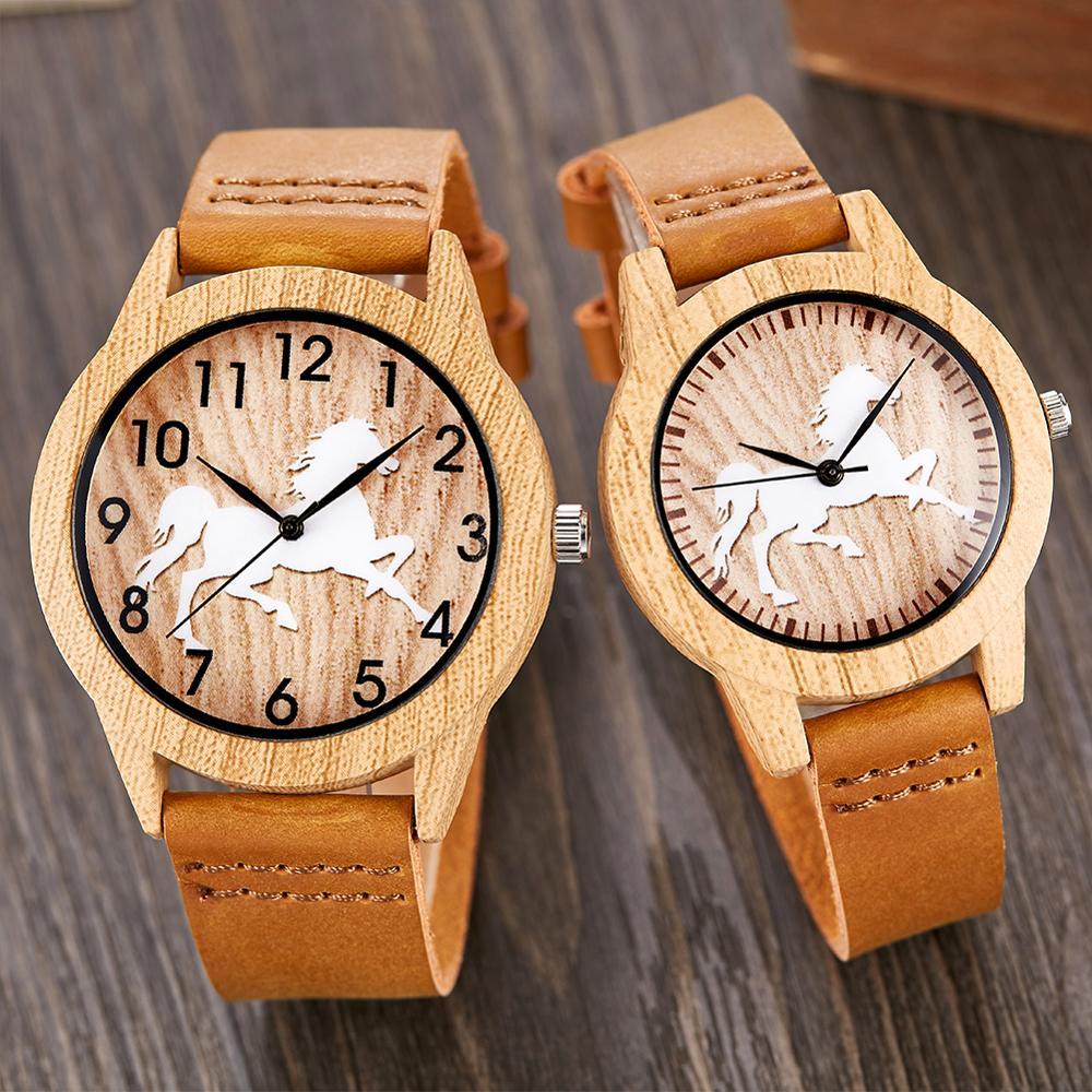 Animal Horse Wood Watch Men Women Couple Quartz Imitation Bamboo Wooden Watch Watches Soft Light Weight Brown Wrist Clock Reloj