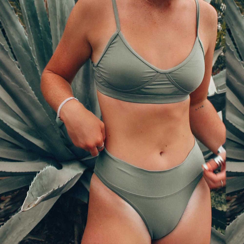 2020セクシーなソリッドビキニ水着女性ハイウエストビキニセットツーピース水着女性プッシュアップ水着夏浴女biquini