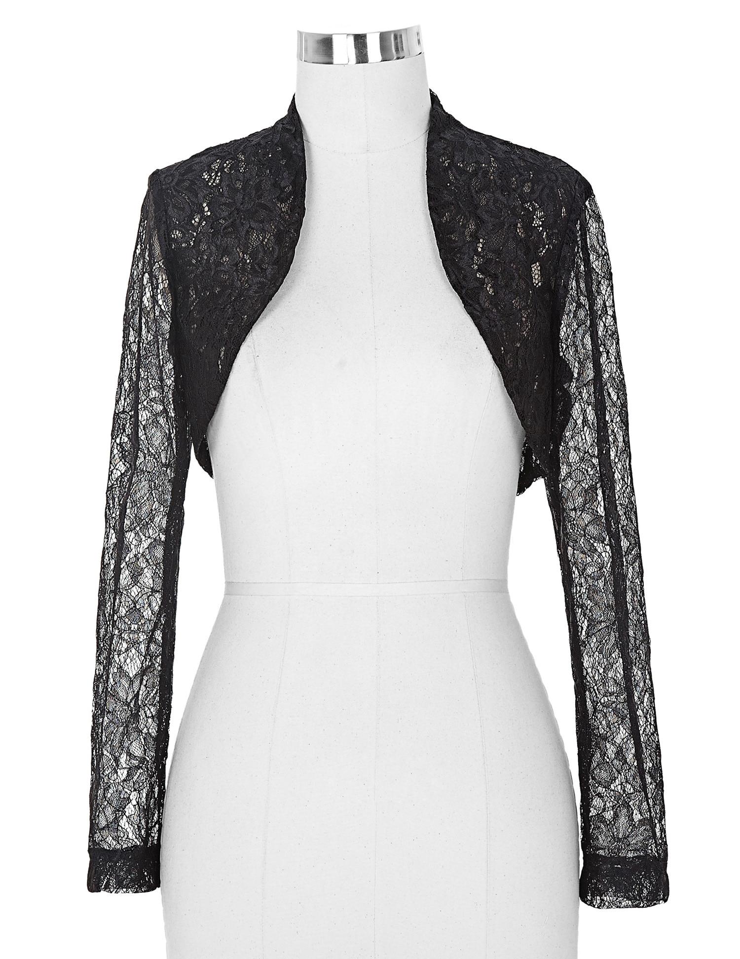 Sexy Black White Lace Bolero Elegant Ladies Shrug Long Sleeve Plus Size Wedding Evening Prom Cropped Lace Bolero Shrugs