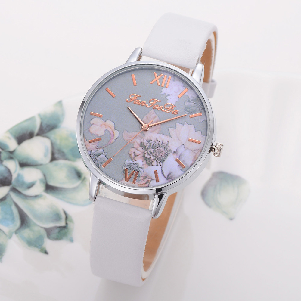 Fashion Women's Watch Silicone Printed Flower Causal Quartz Analog Wrist Watches Elegant Women Luxurious Bracelet Casual Watch
