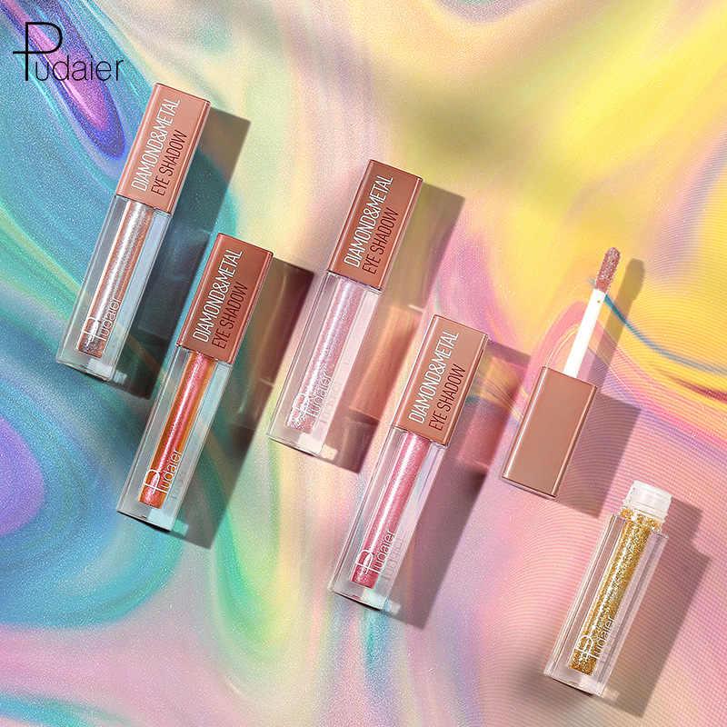 """Pudaier 18 цветов блестящие тени для век Палитра алмазные тени жидкость цвета """"нюд"""" тени для век пигмент профессиональный макияж полная косметика"""