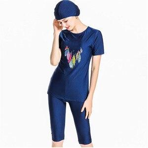Image 1 - 여자 비치 의류 수영복 이슬람 해군 파란색 수영복 겸손 수영복 3 조각 모자 4xl 플러스 크기 인쇄