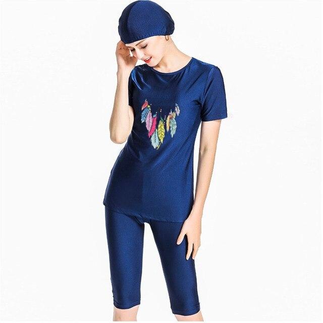 여자 비치 의류 수영복 이슬람 해군 파란색 수영복 겸손 수영복 3 조각 모자 4xl 플러스 크기 인쇄