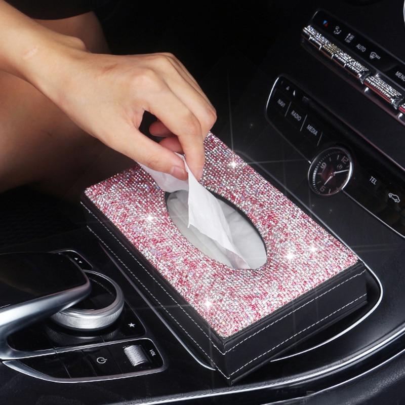 Car Rhinestone Luxurious Tissue Box Storage Towel Sets Bathroom Auto Room Towel Box Holder PU Leather Tissue Box