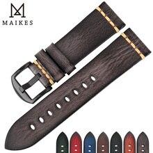 MAIKES اليدوية جلد طبيعي حزام ساعة اليد 18 مللي متر 20 مللي متر 22 مللي متر 24 مللي متر ساعة أثرية الفرقة ل بانيراي المواطن أوميغا سايكو الساعات