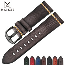 MAIKES Handmade Genuine Leather Watch Strap 18mm 20mm 22mm 24mm Vintage Watch Band For Panerai Citizen Omega SEIKO Watchband