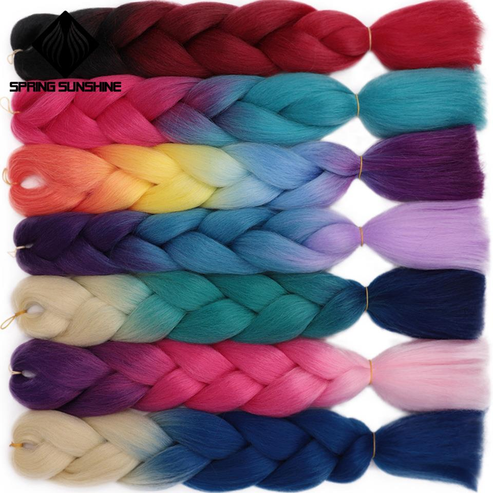 24inch 1PC Jumbo Braids Long Ombre Jumbo Synthetic Braiding Hair Crochet Blonde Pink Blue Grey Hair Extensions African Viscera