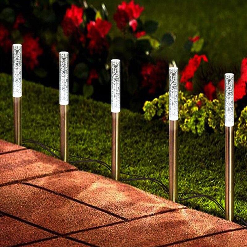 LED lampe solaire puissance Tube lumières lampes acrylique bulle voie pelouse paysage décoration jardin bâton pieu lumière lampe ensemble