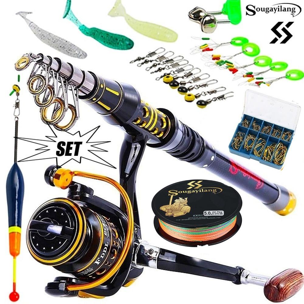 Sougayilang Telescopic Fishing Sea Rod Spinning Reel Fishing Baits Hooks Saltwater Freshwater Professional Fishing Rod Full Kits