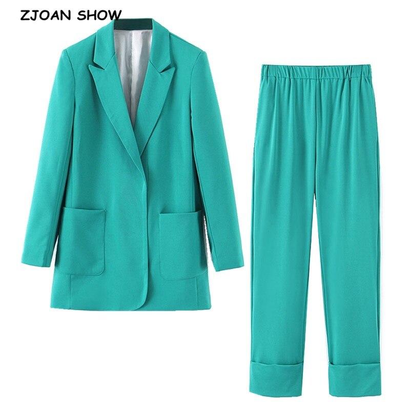 2019 New Autumn No Button Notched Mid Long Blazer Green Elastic Waist Long Pants Long Sleeve Casual Suits Women 2 Pieces Set