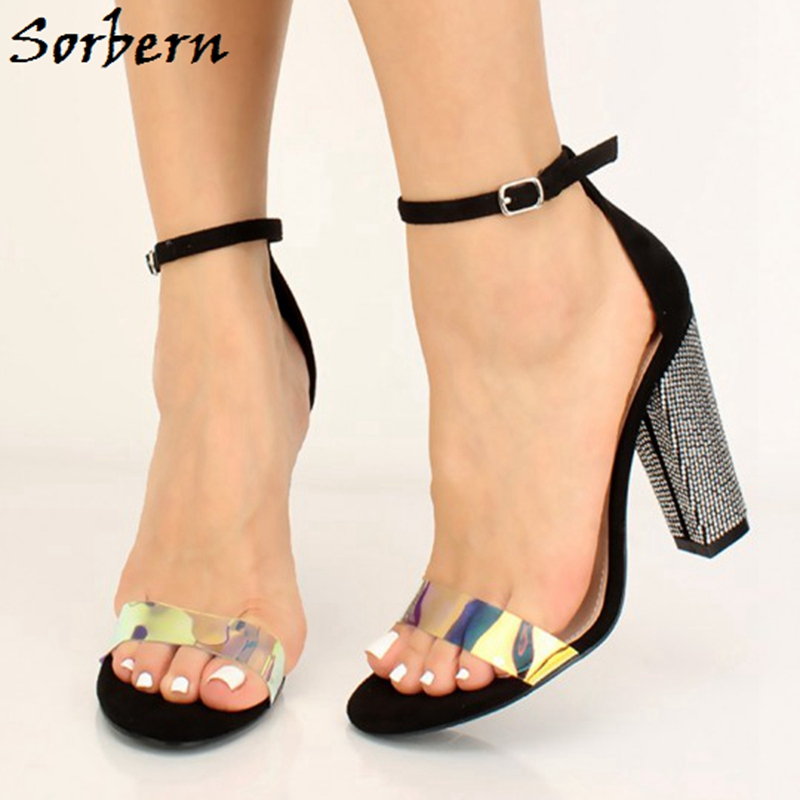Sorbern Holographic Sandals Crystal Block High Heel Ankle Strap Chunky Heeled Summer Shoe Ladies Sandalias Feminina Casual Heels