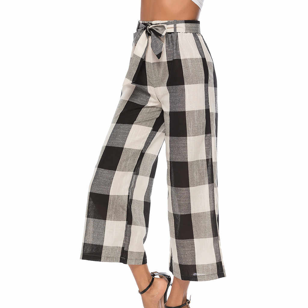 New Arrival Women's Office Ladies Trousers High Waist Outdoor Bow Plaid Print Causal Long Pants Lady Comfy Pant Spodnie Damskie