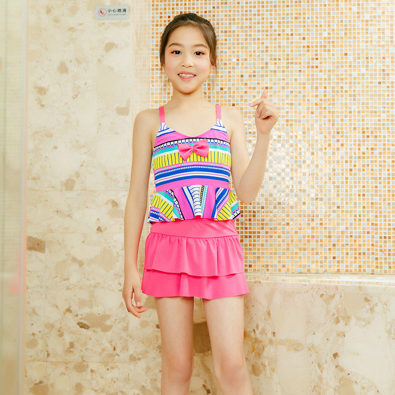 New Style Western Style Bathing Suit 6-9-Year-Old GIRL'S Swimsuit Qmilch Bow Two-piece Swimsuits Summer Vacation Students Swimmi