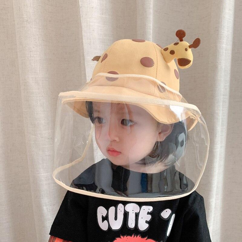2 In1 çocuklar yaz kova şapka çıkarılabilir güneş koruyucu kalkanı çocuk için yüksek kaliteli sevimli karikatür zürafa cilt dostu bebek şapkaları yeni