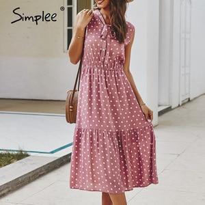 Image 2 - Simplee Elegant cravat sleeveless women dress Polka dot print office lady holiday summer dress A line casual ladies midi dresses