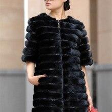 Abrigo de piel de visón Real negro puro para mujer abrigos de piel de visón Estilo Vintage prendas de vestir moderno cómodo a prueba de viento