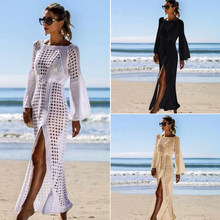 2020 Knitted Beach Cover Ups Summer Women Sexy Beach Dress Hollow Party Long Pareos Praia Elegant Maxi Solid Robe Kimono Crochet(China)