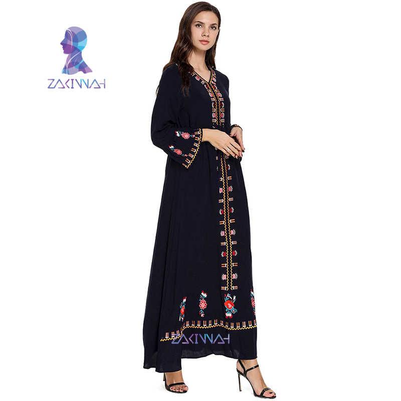 9009 nova moda plus size étnico bordado com decote em v manga alargamento vestido árabe abaya dubai vestido muçulmano kaftan kimono banglades