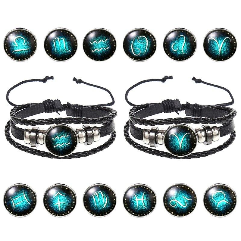 Мужские кожаные браслеты EBUTY с двенадцатью созвездиями, светящиеся подвески, винтажный браслет из искусственной кожи, ювелирные изделия, ли...