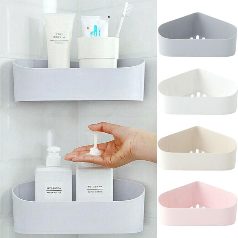 Plastic Suction Cup Corner Shower Shelf Bathroom Shampoo Shower Shelf Holder Kitchen Storage Rack Organizer