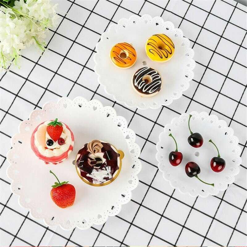 3 Lapisan Cupcake Berdiri Plastik Tingkat Pesta Serving Stand Dessert Tray Buah-buahan Makanan Penutup Hidangan Piring untuk Teh Pesta Ulang Tahun