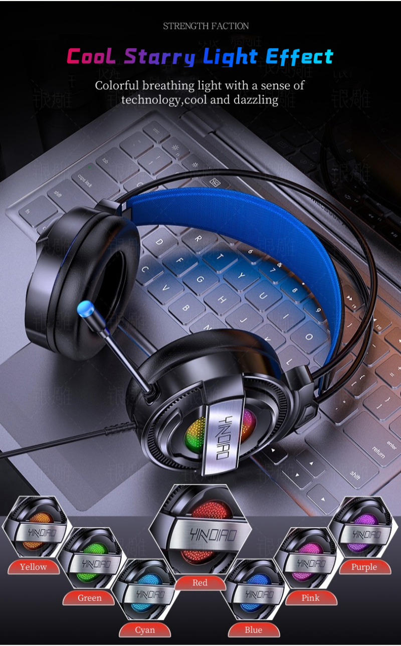 estéreo com fio usb microfone luz colorida