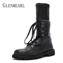 Women Winter Boots Warm Shoes Mid Calf Female Boots Platform  Women Shoes Round Toe Lace Up Fashion Ladies Boots Casual Shoes 20 недорого