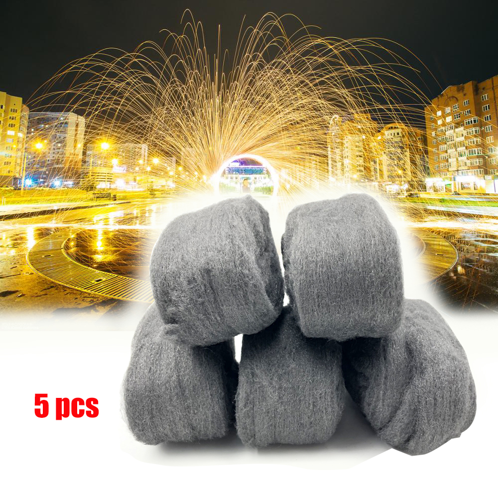 5 Pcs Portable Steel Wire Wool Grade 0000 3.3m For Polishing Cleaning Removing Remover Non Crumble New