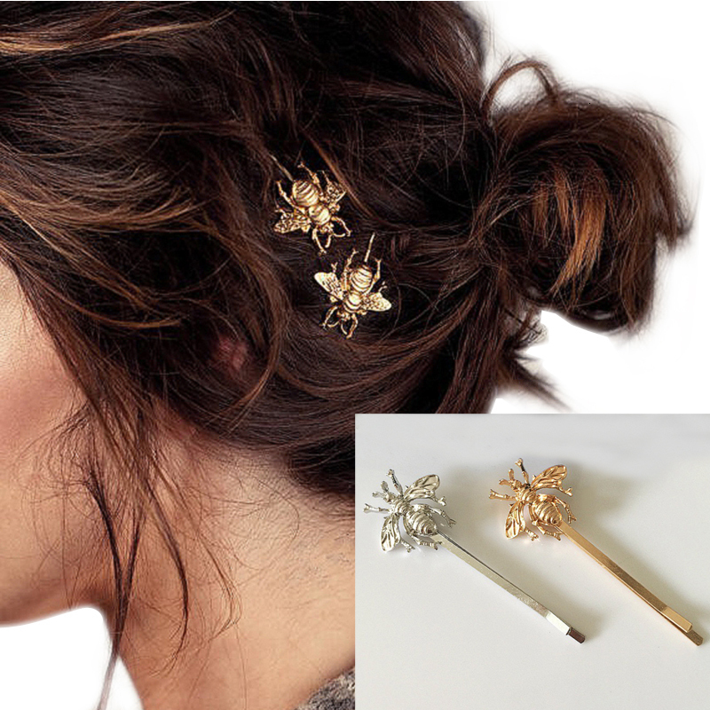 Women's Fashion Style Girl Exquisite Gold Silver Bee Hairpin Side Clip Hair Accessories Headwear  Hair Sticks