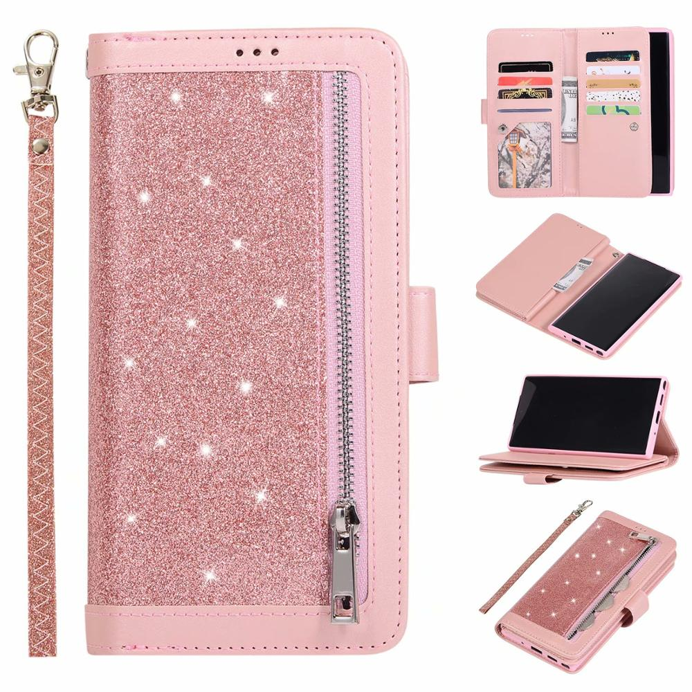 Note 10 Pro Case For Samsung Galaxy Note 10 Plus Fashion Bling Leather Wallet Flip Case For Samsung Note 9 8 Funda Back Cover
