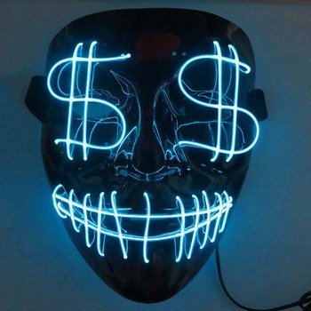 NEW Led Mask Halloween Party Masque Masquerade Masks Neon Maske Glow Light In The Dark Mascara Horror Maska Glowing Masker Purge