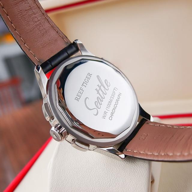 2021 Reef Tiger/RT Top Brand Luxury Date Men Watch Black Dial Steel Black Leather Strap Chronograph Quartz Watches RGA1669 5