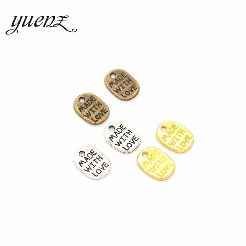YuenZ 50 adet Metal alfabe harfler ile yapılan aşk takılar takı yapımı için Diy el yapımı aksesuarlar 11*8mm S206