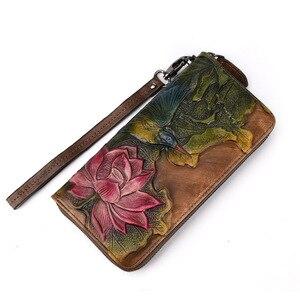 Image 2 - Women Wristlet Clutch Wallet Womens Zipper Cell Phone Pouch Wallets Ladies Purse Flower Engraved Genuine Leather