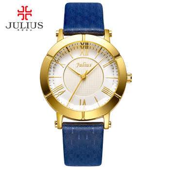 JULIUS Blau Uhr Frauen Aus Echtem Lederband Rose Gold Überzogene Uhr Top Marke Frauen Luxus Leder Quarz Military Reloj JA-789
