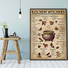 Funny Posters Decoration Art-Painting Wall-Pictures Knowledge Prints Kitchen Witchery