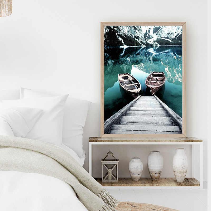 스칸디 나비아 자연 풍경 포스터 노르딕 스타일 인쇄 마운틴 레이크 보트 벽 아트 그림 그림 현대 거실 장식