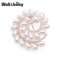 Wuli&baby Rice Shape Pearl Round Flower Brooches Women Alloy Weddings Office Brooch Pins Moms Gifts