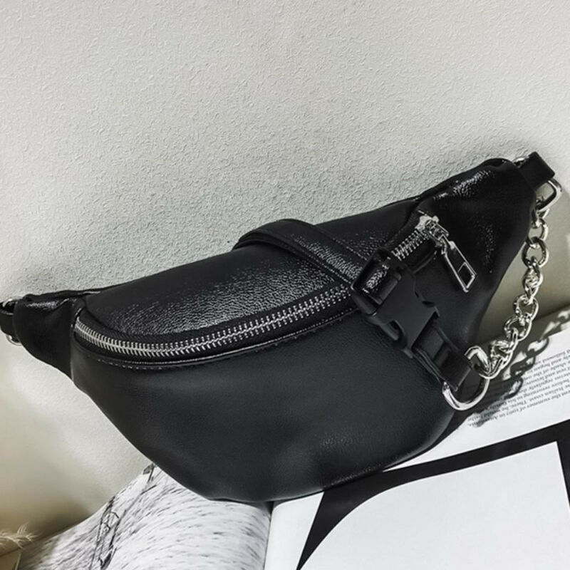 2019 Womens Waist Bag Fanny Pack PU Bag Belt Purse Small Purse Phone Key Pouch White Black Waist Packs