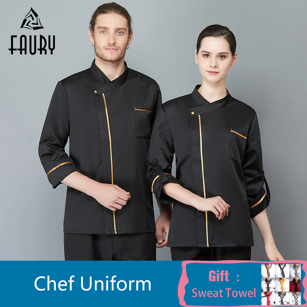 Long Sleeves Chef Jacket High Quality Cook Coat Restaurant Kitchen Food Service Men Women Waiter Uniform Cuisine Overalls