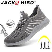 JACKSHIBO nefes güvenlik iş ayakkabısı erkekler için erkek çelik burun botları inşaat güvenlik ayakkabıları güvenlik botları çalışma Anti Smashing