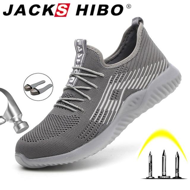 Jackshibo Thoáng Khí An Toàn Giày Công Sở Dành Cho Nam Nam Thép Không Gỉ Mũi Nắp Giày Xây Dựng Giày An Toàn Giày Làm Việc Chống Đập Phá