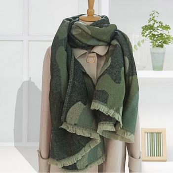2020 Leopard Scarf Winter Green Women Warm Cashmere Fashion Casual Thickened Wool Collar Scarves and Shawls Long Ladies Poncho 1