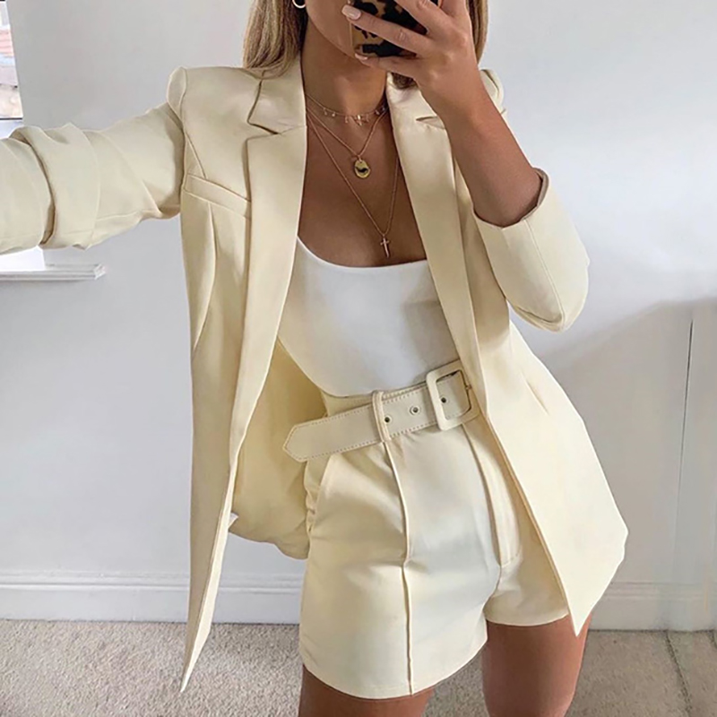 Outfits Pink Blazer Suit Top Shorts 2 Two Pieces Set with Belt Autumn Winter Women Streetwear Coat Jacket Sets Office GV993