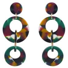 FIAZIA Large European Style Circle Hoop Drop Earrings For Women Jewelry Accessories Statement Bijou Colorful Resin Dangle