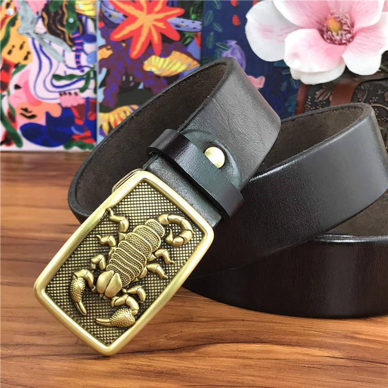 Scorpion Cowboy Belt Buckle Belts Men Leather Ceinture Brass Belt Buckle Men Leather Belt Wide Jeans Waist Yellow Belt  MBT0011