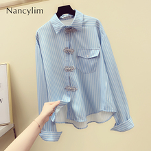 2019 Autumn Woman Stripe Blouse New Long-sleeved Personality Buttons Lapel Blusas Women's Pocket
