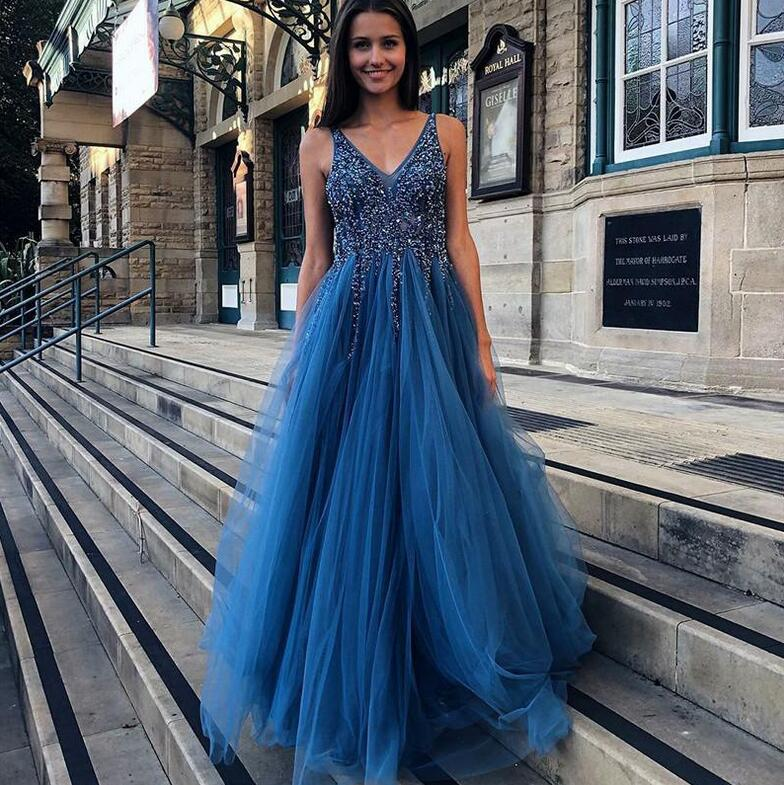 New Illusion Vestidos de fiesta de noche Blue V neck Backless Tulle Party   Prom     Dress   2019