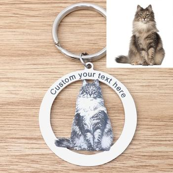 Personalized Pet Photo Keychain,Custom Cat Keychain,Custom Dog Keychain,Cat Photo Keychain,Picture Keyring,Cat Lover Gifts geometric cat dark brown military dog tag keychain