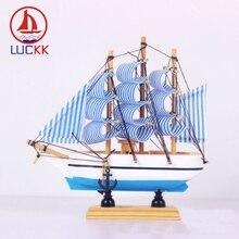 LUCKK 16CM Handmade Wooden Sailing Boat Model Home Interior Decor Wood Craft Mediterranean Miniature Nautical Souvenirs Figurine